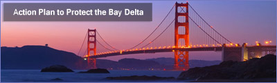 Image of the Golden Gate Bridge at sunset and title Action Plan to Protect the Bay Delta