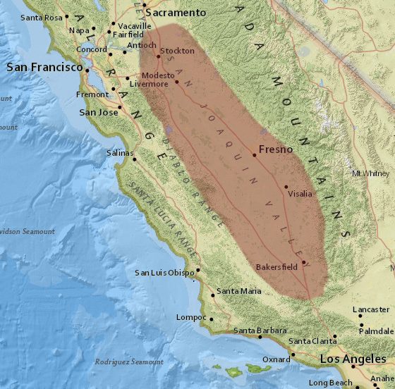 shaded area shows the general area of the san joaquin valley click image for a