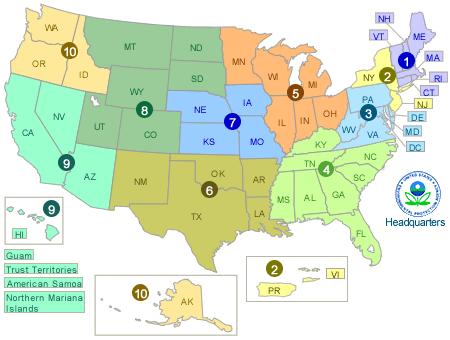 Visiting A Regional Office About EPA US EPA - Us map divided into regions