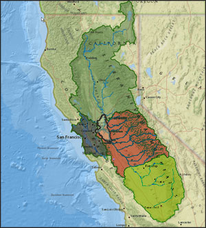 the five main areas of the san francisco bay delta watershed