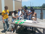 Students returning from a sampling trip with LDWF biologists.