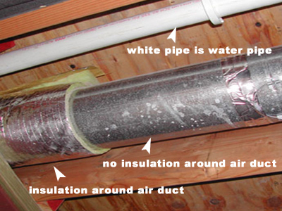 air conditioning pipe insulation. moisture issue: condensation on uninsulated air conditioning duct. pipe insulation a