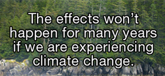 The effects won't happen for many years if we are experiencing climate change.