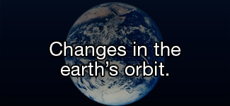 Changes in the earth's orbit.