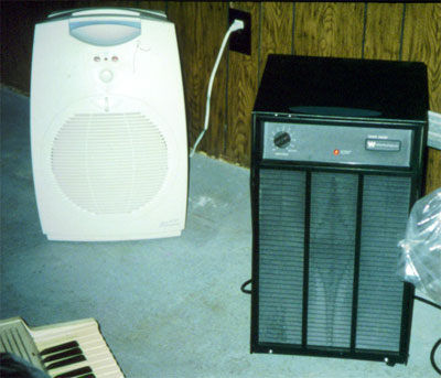Dehumidifier being used to keep moisture levels low in a basement