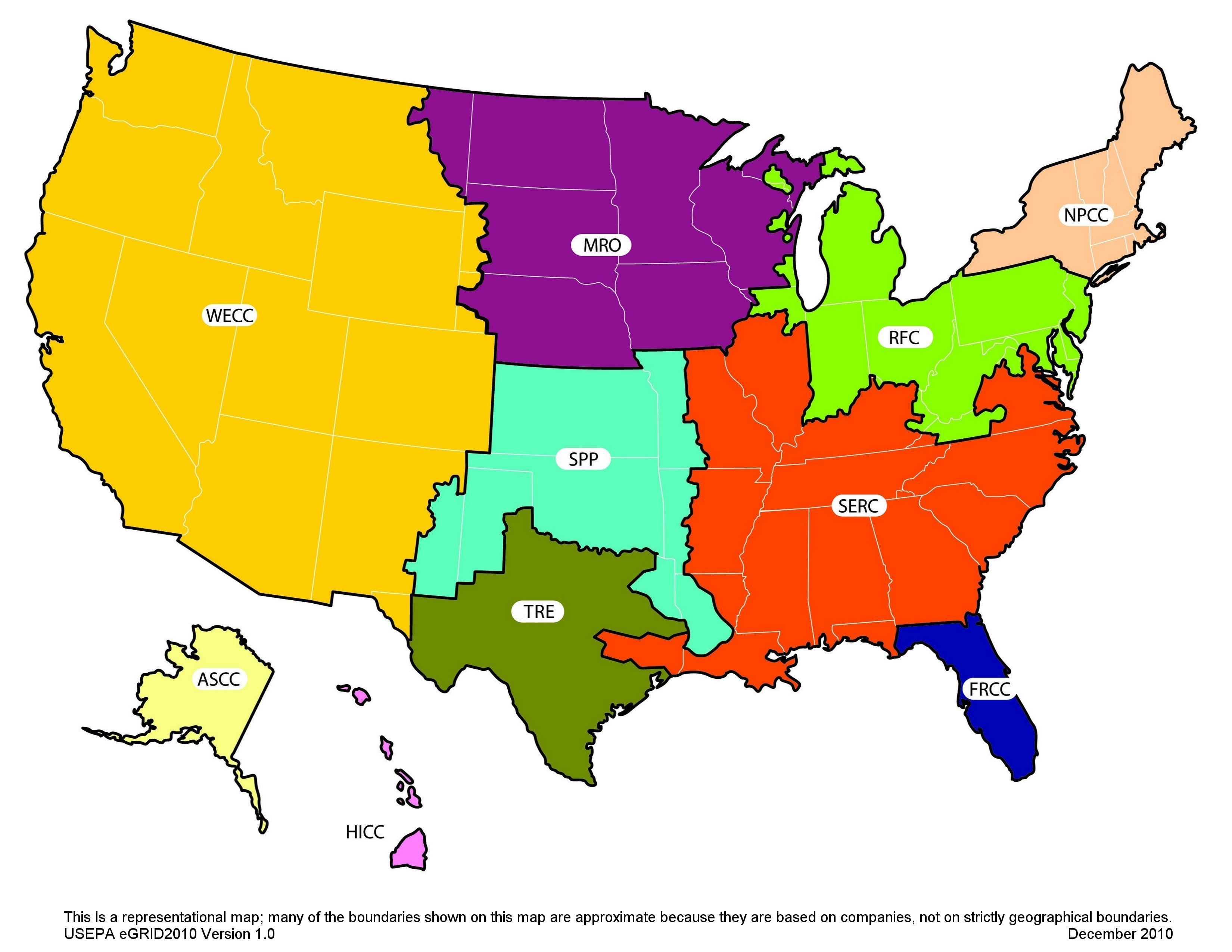 Nerc Region Representational Map Energy And The