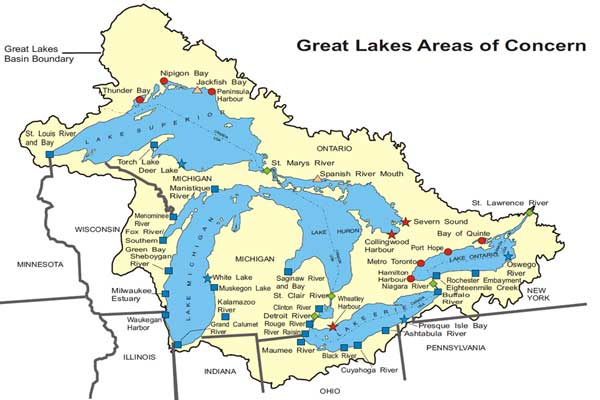 Great Lakes AOCs Status Map | Great Lakes Areas of Concern | US EPA