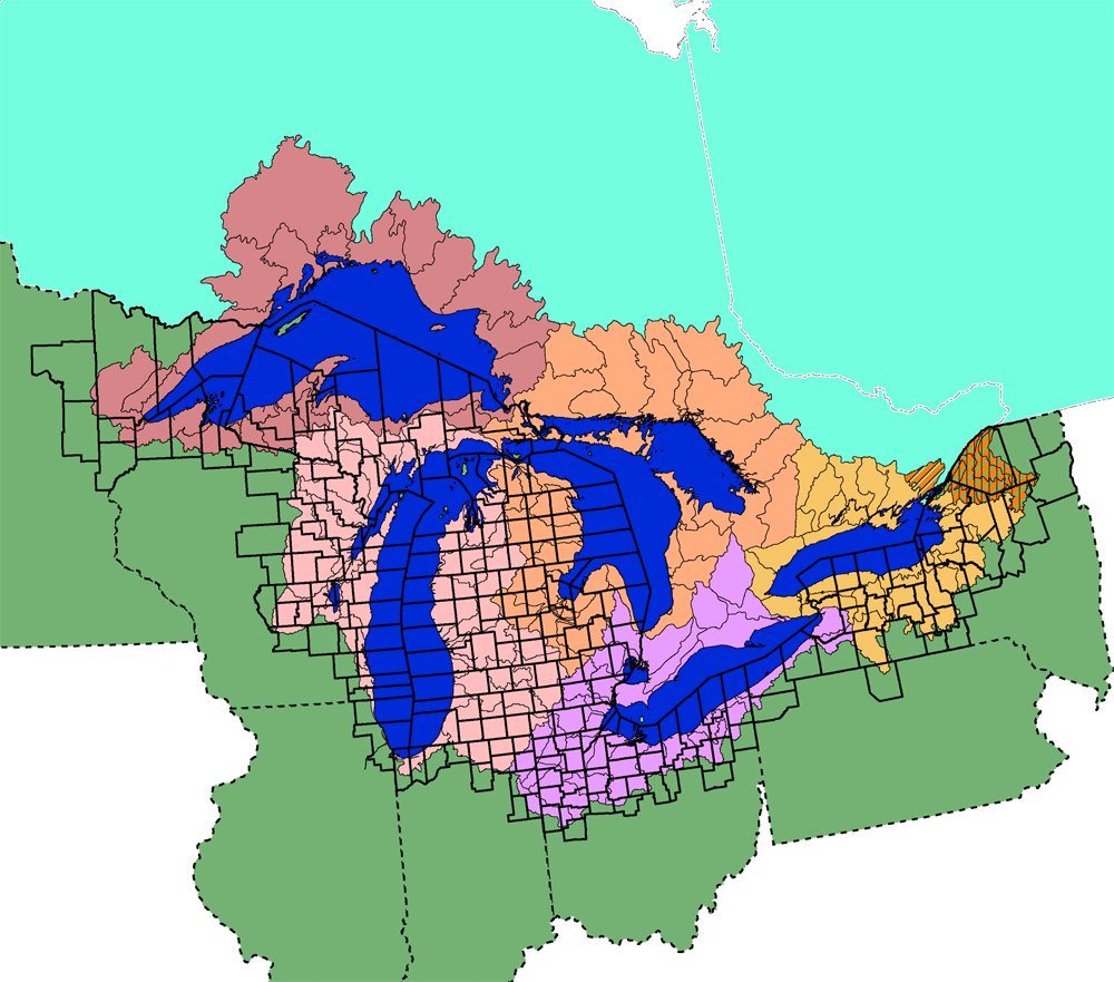 great lakes facts and figures  the great lakes  us epa - map of the great lakes basin showing us counties