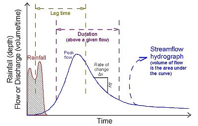 A stream hydrograph, plotted as discharge versus time that can be used to characterize flow at a given stream cross-section.
