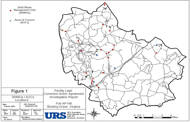 Rcra Corrective Action Site Map For Us Army Garrison Fort Ap Hill
