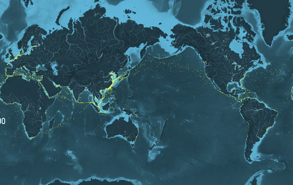This map highlights how container ship traffic