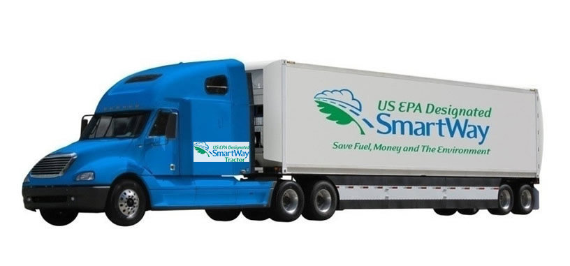 Example of a SmartWay Tractor and Trailer with SmartWay Designated Logos