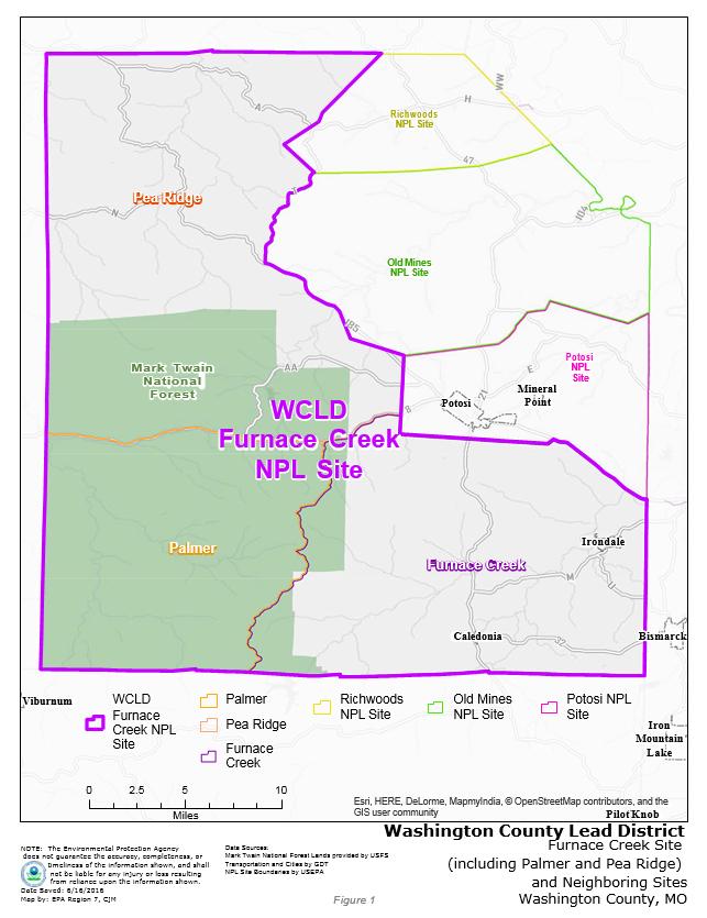 Washington County Lead District Furnace Creek Superfund Site - Us superfund site map