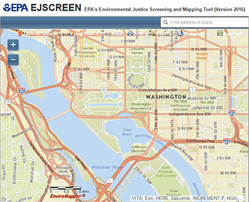 Screenshot of Environmental Justice Screening and Mapping Tool
