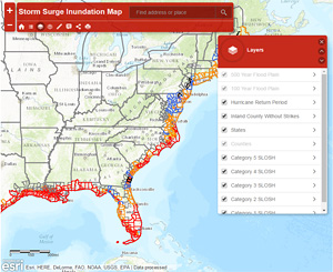 Screenshot of Storm Surge Inundation Map