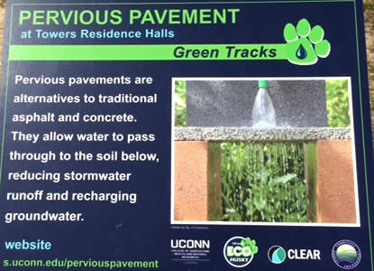 Pervious pavement sign UConn