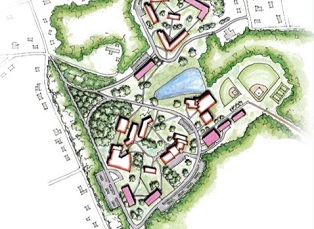 Artistic rendering of master plan for East Georgia State College including planters, bioswales, habitat conservation.