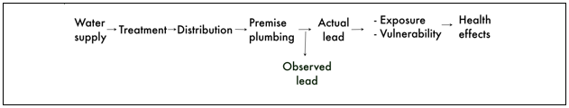 from lead's occurrence in a community's water supply through treatment and distribution, and the effect of lead on public health.