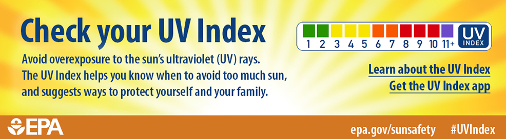 Check your UV Index. Avoid overexposure to the sun's ultraviolet (UV) rays. The UV Index helps you know when to ovoid too much sun, and suggests ways to protect yourself and your family. epa.gov/sunsafety #UVIndex