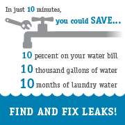 Graphic of how taking 10 minutes to look for leaks can save you ten thousand gallons of water.