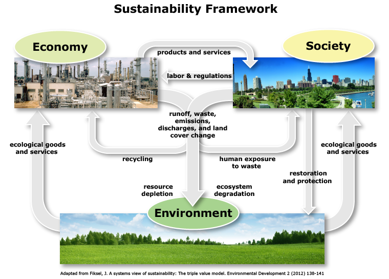 This conceptual framework shows the flows along three interrelated and interacting systems: economy, society, and environment. The environment provides ecological services to the economy and to society. The economy produces products and services for socie