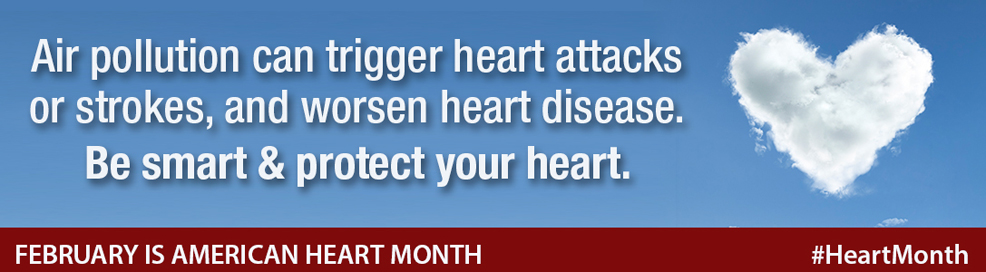 Air pollution can trigger heart attacks or strokes, and worsen heart disease. Be smart and protect your heart. February is American Heart Month. #heartmonth