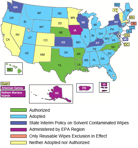 Map of United States showing which states have rules about solvent-contaminated wipes