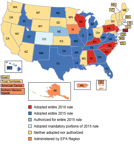 United States map showing states that have adopted the 2018 DSW Rule