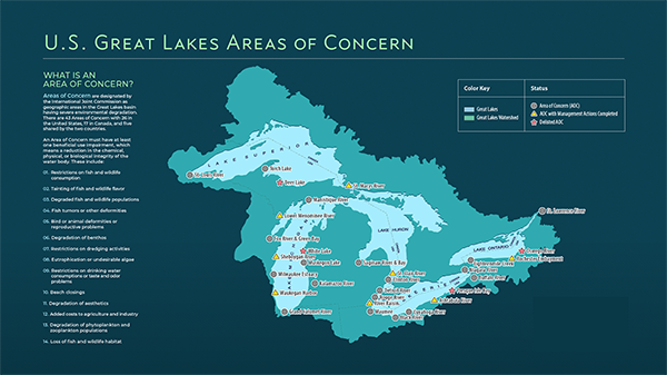 Aocs Status Map Great Lakes Areas Of Concern Us Epa - Great-lakes-on-the-us-map