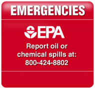 Report oil or chemical spills to the National Response Center at 800-424-8802