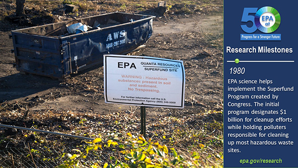 1980-EPA science helps implement the Superfund Program created by Congress. The initial program designated $1 billion for cleanup efforts while holding polluters responsible for cleaning up most hazardous waste sites.