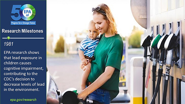 1981-EPA research shows that lead exposure in children causes cognitive impairment, contributing to the CDC's decision to decrease levels of lead in the environment. Woman with toddler pumping gas.