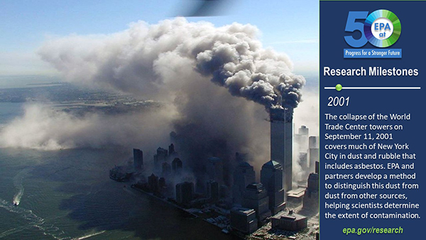 2001-The collapse of the World Trade Center towers on Sept. 11, 2001 covers much of New York City in dust and rubble that includes asbestos. EPA and partners develop a method to distinguish this dust from dust from other sources.