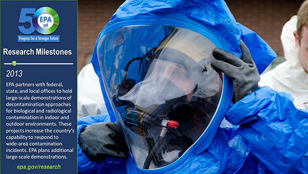 2013-EPA and federal, state, and local partners have held several large-scale demonstrations of decontamination approaches for biological and radiological contamination in a variety of indoor and outdoor environments.