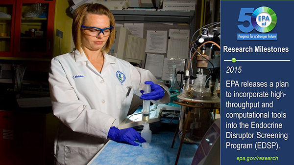 2015-EPA releases a plan to incorporate high-throughput and computational tools into the Endocrine Disruptor Screening Program (EDSP). EPA scientist Christy Muhlen uses a syringe to insert a liquid sample into a test tube.
