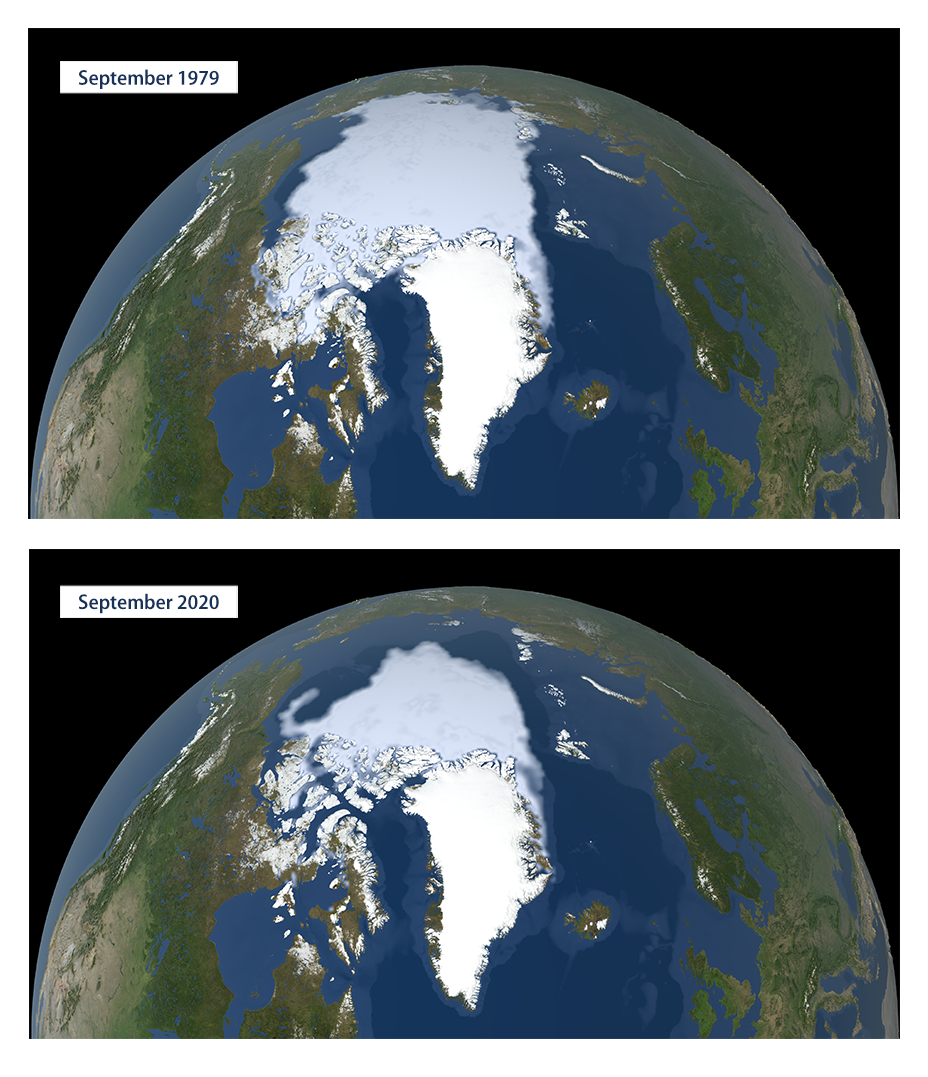 Two maps that compare the extent of Arctic sea ice in September 1979 and September 2020.