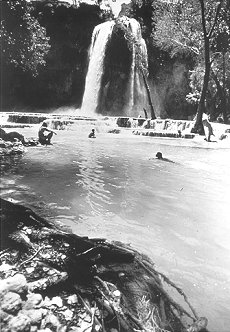 Black and white photo of people swimming in a creek with a waterfall.