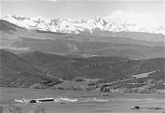 Black and white photo of mountains.