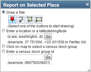 Screenshot of Report on Selected Place Widget