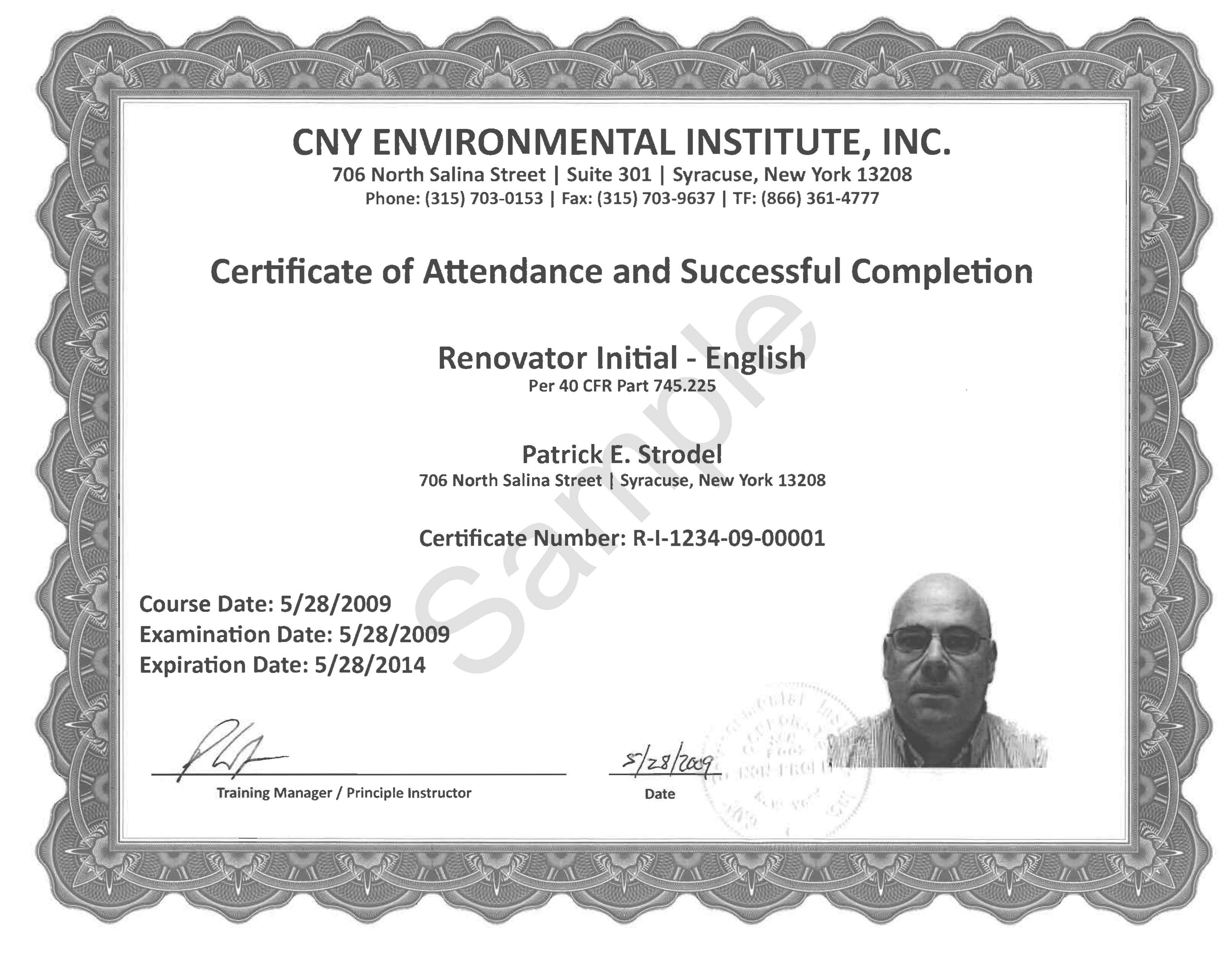 Sample Certificate. Initial Renovator Course Certificate. View Larger  Version Of Image  Course Completion Certificate Format