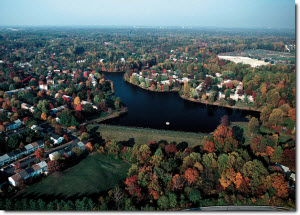 Aerial view of fall trees surrounding a lake