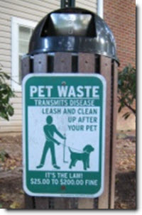 Pet Waste transmits diseases sign