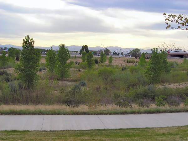 Northfield at Stapleton in Denver, with I-70 in the background