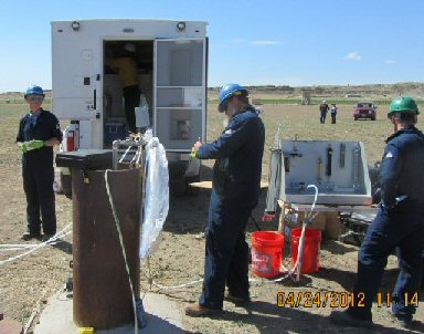 MW01 wellhead sampling, April 2012