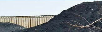 close-up of petroleum coke pile in Chicago