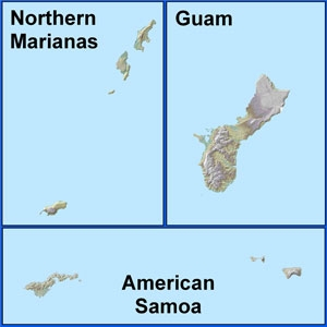 Maps of: Northern Marianas, Guam, and American Samoa