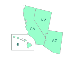 Map or EPA Region 9 States: Arizona, California, Hawaii, and Nevada