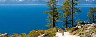 Cyclist at Lake Tahoe