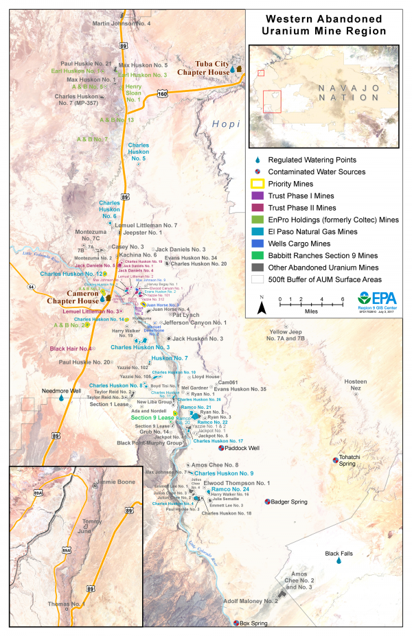 Map showing Western AUM Region Abandoned Uranium Mines