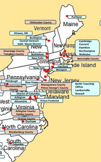Map of the U.S. East Coast with multiple project locations marked.